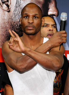 LAS VEGAS - APRIL 02:  Boxer Bernard Hopkins gestures during the official weigh-in for his bout against Roy Jones Jr. at the Mandalay Bay Events Center April 2, 2010 in Las Vegas, Nevada. The two will meet in a light heavyweight bout on April 3 in Las Veg