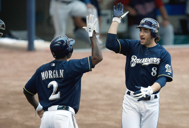 MILWAUKEE, WI - JUNE 26: Ryan Braun #8 of the Milwaukee Brewers is congratulated by Nyjer Morgan #2 after hitting a home run against the Minnesota Twins at Miller Park on June 26, 2011 in Milwaukee, Wisconsin. (Photo by Scott Boehm/Getty Images)