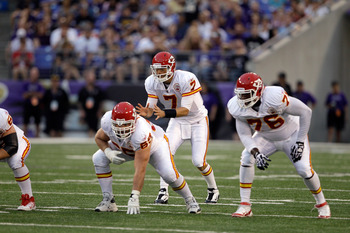 BALTIMORE, MD - AUGUST 19:  Quarterback Matt Cassel #7 of the Kansas City Chiefs lines up under center against the Baltimore Ravens during a preseason game at M&T Bank Stadium on August 19, 2011 in Baltimore, Maryland. The Ravens won 31-13. (Photo by Rob
