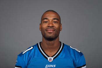DETROIT, MI - CIRCA 2010:  In this photo provided by the NFL, Calvin Johnson of the Detroit Lions poses for his 2010 NFL headshot circa 2010 in Detroit, Michigan.  (Photo by NFL via Getty Images)
