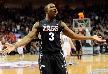 LAS VEGAS, NV - MARCH 07:  Demetri Goodson #3 of the Gonzaga Bulldogs celebrates late in the team's 75-63 victory over the Saint Mary's Gaels in the championship game of the Zappos.com West Coast Conference Basketball tournament at the Orleans Arena March