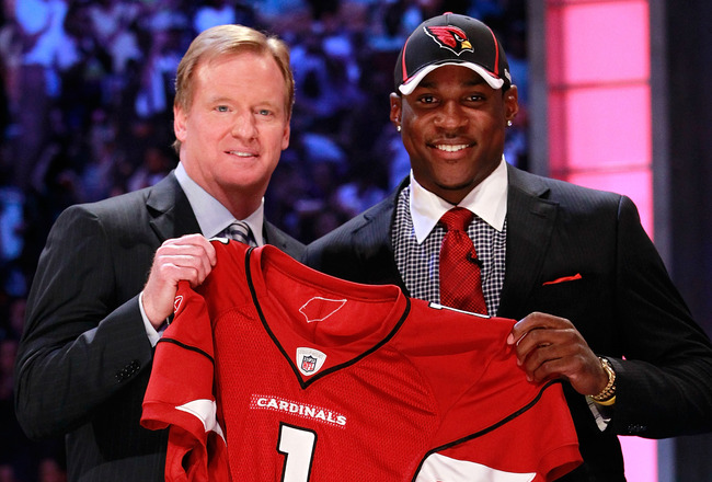 NEW YORK, NY - APRIL 28:  NFL Commissioner Roger Goodell poses for a photo on stage with Patrick Peterson, #5 overall pick by the Arizona Cardinals, during the 2011 NFL Draft at Radio City Music Hall on April 28, 2011 in New York City.  (Photo by Chris Tr