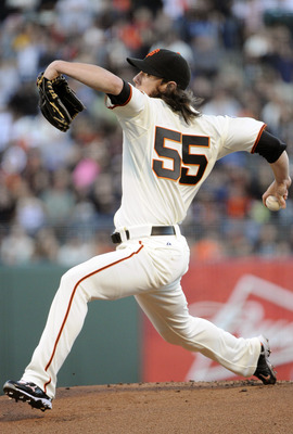 SAN FRANCISCO, CA - AUGUST 2:  Tim Lincecum #55 of the San Francisco Giants pitches against the Arizona Diamondbacks in the first inning during a MLB baseball game at AT&T Park August 2, 2011 in San Francisco, California. (Photo by Thearon W. Henderson/Ge