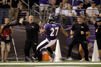 BALTIMORE, MD - AUGUST 19:  Running back Ray Rice #27 of the Baltimore Ravens celebrates after scoring a touchdown against the Kansas City Chiefs during the first half of a preseason game at M&T Bank Stadium on August 19, 2011 in Baltimore, Maryland. The