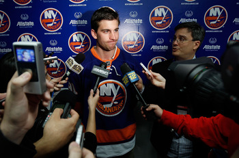 UNIONDALE, NY - JUNE 24:  John Tavares of the New York Islanders speaks to the media during the New York Islanders Draft Party on June 24, 2011 at Nassau Coliseum in Uniondale, New York.  (Photo by Mike Stobe/Getty Images)