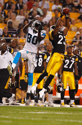 PITTSBURGH - SEPTEMBER 02:  Keenan Lewis #23 of the Pittsburgh Steelers breaks up a pass in front of Dwayne Jerrett #80 of the Carolina Panthers during the preseason game on September 2, 2010 at Heinz Field in Pittsburgh, Pennsylvania.  (Photo by Jared Wi