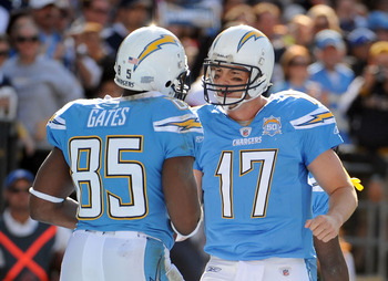 SAN DIEGO - NOVEMBER 29:  Antonio Gates #85 of the San Diego Chargers celebrates his touchdown with Philip Rivers #17 for a 7-0 lead over the Kansas City Chiefs during the second quarter at Qualcomm Stadium on November 29, 2009 in San Diego, California.