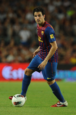 BARCELONA, SPAIN - AUGUST 22:  Fabregas of FC Barcelona in action during the Joan Gamper Trophy match between FC Barcelona and SSC Napoli on August 22, 2011 in Barcelona, Spain.  (Photo by Valerio Pennicino/Getty Images)