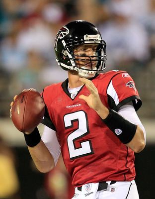 JACKSONVILLE, FL - AUGUST 19:  Quarterback Matt Ryan  #2 of the Atlanta Falcons attempts a pass during a game against the Jacksonville Jaguars at EverBank Field on August 19, 2011 in Jacksonville, Florida.  (Photo by Sam Greenwood/Getty Images)