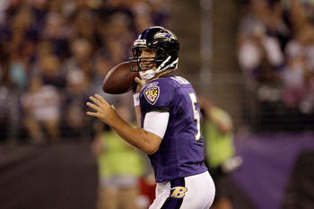 BALTIMORE, MD - AUGUST 19:  Quarterback Joe Flacco #5 of the Baltimore Ravens scrambles during a preseason game against the Kansas City Chiefs at M&T Bank Stadium on August 19, 2011 in Baltimore, Maryland. The Ravens won 31-13. (Photo by Rob Carr/Getty Im