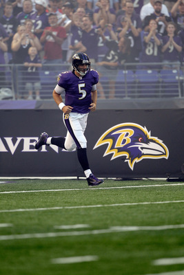 BALTIMORE, MD - AUGUST 19: Quarterback Joe Flacco #5 of the Baltimore Ravens is introduced before the start of a preseason game against the Kansas City Chiefs at M&T Bank Stadium on August 19, 2011 in Baltimore, Maryland. The Ravens won 31-13. (Photo by R