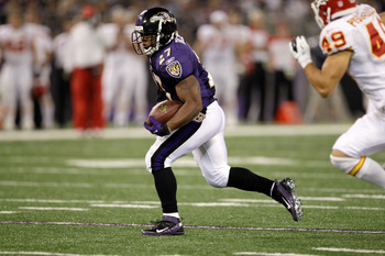 BALTIMORE, MD - AUGUST 19:  Running back Ray Rice #27 of the Baltimore Ravens carries the ball against the Kansas City Chiefs during a preseason game at M&T Bank Stadium on August 19, 2011 in Baltimore, Maryland. The Ravens won 31-13. (Photo by Rob Carr/G