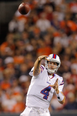 DENVER, CO - AUGUST 20:  Quarterback Tyler Thigpen #4 of the Buffalo Bills in action against the Denver Broncos at Sports Authority Field at Mile High on August 20, 2011 in Denver, Colorado. The Broncos defeated the Bills 24-10. (Photo by Justin Edmonds/G