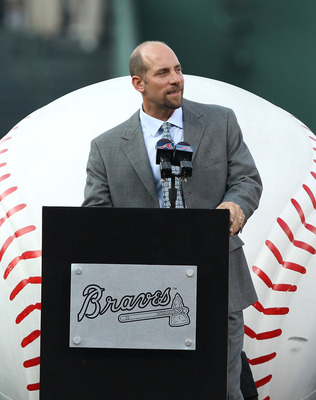 ATLANTA, GA - AUGUST 12:  Former Atlanta Braves pitcher John Smoltz addresses the crowd during the Bobby Cox number retirement ceremony before the game between the Atlanta Braves and the Chicago Cubs at Turner Field on August 12, 2011 in Atlanta, Georgia.