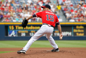 ATLANTA, GA - AUGUST 21:  Tim Hudson #15 of the Atlanta Braves against the Arizona Diamondbacks at Turner Field on August 21, 2011 in Atlanta, Georgia.  (Photo by Kevin C. Cox/Getty Images)
