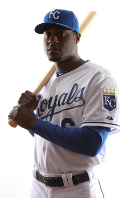 SURPRISE, AZ - FEBRUARY 23:  Lorenzo Cain #6 of the Kansas City Royals poses for a portrait during Spring Training Media Day on February 23, 2011 at Surprise Stadium in Surprise, Arizona..  (Photo by Jonathan Ferrey/Getty Images)