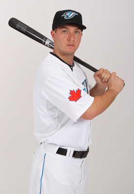 DUNEDIN, FL - FEBRUARY 20:  David Cooper #28 of the Toronto Blue Jays poses during photo day at Florida Auto Exchange Stadium on February 20, 2011 in Dunedin, Florida.  (Photo by Nick Laham/Getty Images)