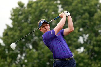 EDISON, NJ - AUGUST 25:  Luke Donald of England watches his tee shot on the second hole during round one of The Barclays at Plainfield Country Club on August 25, 2011 in Edison, New Jersey.  (Photo by Scott Halleran/Getty Images)