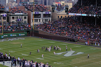 CHICAGO - NOVEMBER 20: A general view as the Northwestern Wildcats take on the Illinois Fighting Illini during a game played at Wrigley Field on November 20, 2010 in Chicago, Illinois. (Photo by Jonathan Daniel/Getty Images)