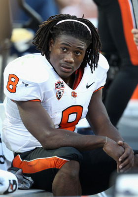 TUCSON, AZ - OCTOBER 09:  Wide receiver James Rodgers #8 of the Oregon State Beavers sits on the sidelines during the college football game against the Arizona Wildcats at Arizona Stadium on October 9, 2010 in Tucson, Arizona.  (Photo by Christian Peterse