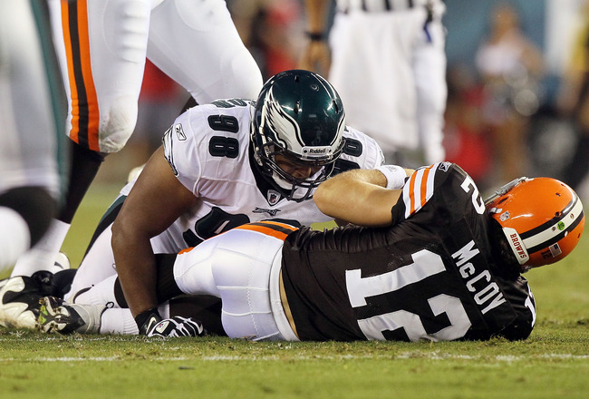 PHILADELPHIA, PA - AUGUST 25:  Mike Patterson #98 of the Philadelphia Eagles sacks Colt McCoy #12 of the Cleveland Browns  during their pre season game on August 25, 2011 at Lincoln Financial Field in Philadelphia, Pennsylvania.  (Photo by Jim McIsaac/Get