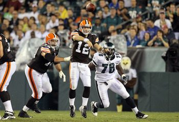 PHILADELPHIA, PA - AUGUST 25:  Colt McCoy #12 of the Cleveland Browns throws a pass in the first half against the Philadelphia Eagles during their pre season game on August 25, 2011 at Lincoln Financial Field in Philadelphia, Pennsylvania.  (Photo by Jim