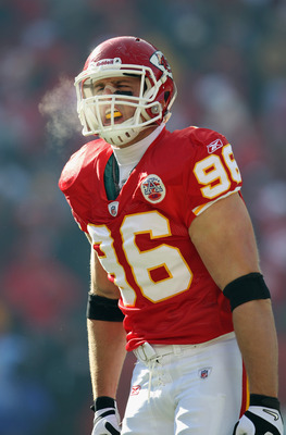KANSAS CITY, MO - DECEMBER 05:  Andy Studebaker #96 of the Kansas City Chiefs in action during the game against the Denver Broncos on December 5, 2010 at Arrowhead Stadium in Kansas City, Missouri.  (Photo by Jamie Squire/Getty Images)