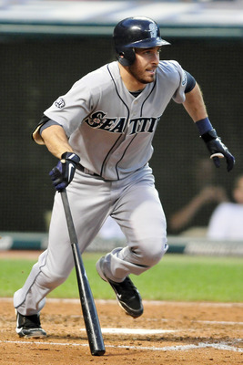 CLEVELAND, OH - AUGUST 23: Dustin Ackley #13 of the Seattle Mariners hits an RBI single in the fourth inning against the Cleveland Indians at Progressive Field on August 23, 2011 in Cleveland, Ohio. The Mariners defeated the Indians 12-7. (Photo by Jason