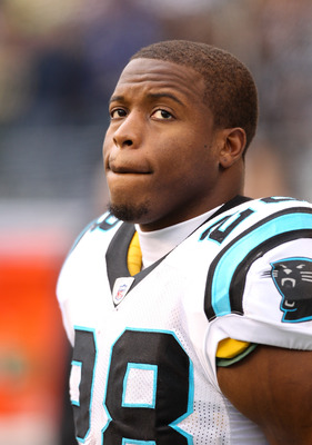 SEATTLE - DECEMBER 05:  Running back Jonathan Stewart #28 of the Carolina Panthers looks on during warmups prior to the game  against the Seattle Seahawks at Qwest Field on December 5, 2010 in Seattle, Washington. The Seahawks won, 31-14. (Photo by Otto G