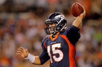 DENVER, CO - AUGUST 20:  Quarterback Tim Tebow #15 of the Denver Broncos throws a pass against the Buffalo Bills during the fourth quarter at Sports Authority Field at Mile High on August 20, 2011 in Denver, Colorado. The Broncos defeated the Bills 24-10.