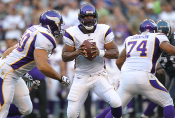 SEATTLE - AUGUST 20:  Quarterback Donovan McNabb #5 of the Minnesota Vikings drops back to pass against the Seattle Seahawks at CenturyLink Field on August 20, 2011 in Seattle, Washington. The Vikings won 20-7. (Photo by Otto Greule Jr/Getty Images)