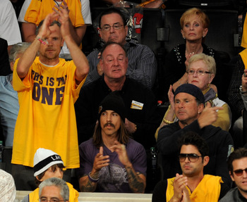 LOS ANGELES, CA - JUNE 03:  (L-R) Musicians Flea, Anthony Keidis and Chad Smith of the Red Hot Chilli Peppers attend Game 1 of the NBA Finals between the Los Angeles Lakers and the Boston Celtics at Staples Center on June 3, 2010 in Los Angeles, Californi