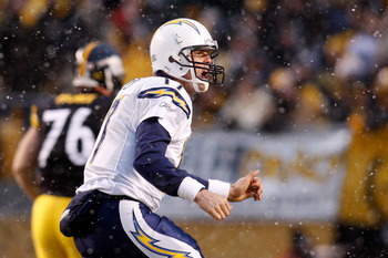 PITTSBURGH - JANUARY 11:  Philip Rivers #17 of the San Diego Chargers celebrates after he threw a 41-yard touchdown pass to Vincent Jackson #83 in the first quarter against the Pittsburgh Steelers during their AFC Divisional Playoff Game on January 11, 20
