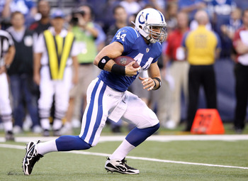 INDIANAPOLIS, IN - AUGUST 19: Dallas Clark #44 of the Indianapolis Colts runs with the ball during the game against the Washington Redskins at Lucas Oil Stadium on August 19, 2011 in Indianapolis, Indiana.  (Photo by Andy Lyons/Getty Images)