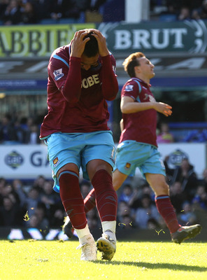 LIVERPOOL, ENGLAND - APRIL 04:  Mido of West Ham reacts after missing a penalty kick during the Barclays Premier League match between Everton and West Ham United at Goodison Park on April 4, 2010 in Liverpool, England.  (Photo by Alex Livesey/Getty Images