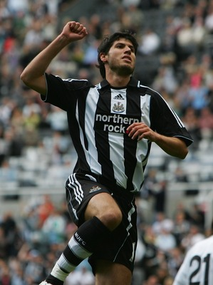 NEWCASTLE-UPON-TYNE, UNITED KINGDOM - JULY 29:  Albert Luque of Newcastle United celebrates after scoring the opening goal during a pre-season friendly between Newcastle United and Juventus at St James' Park on July 29, 2007 in Newcastle-upon-Tyne, Englan