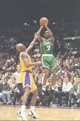 27 Feb 1994:  Guard Dee Brown of the Boston Celtics shoots a jump shot during a game against the Los Angeles Lakers at the Great Western Forum in Inglewood, California.  Mandatory Credit: Glenn Cratty  /Allsport