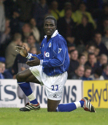 8 Dec 2001:  Ade Akinbiyi of Leicester after miss a shot at goal during the match between Leicester City and Southampton in the FA Barclaycard Premiership at Filbert Street Leicester. DIGITAL IMAGE. Mandatory Credit: Ross Kinnaird/ALLSPORT