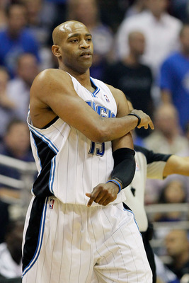 ORLANDO, FL - MAY 18:  Vince Carter #15 of the Orlando Magic reacts against the Boston Celtics in Game Two of the Eastern Conference Finals during the 2010 NBA Playoffs at Amway Arena on May 18, 2010 in Orlando, Florida.  NOTE TO USER: User expressly ackn
