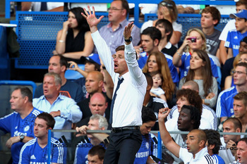 LONDON, ENGLAND - AUGUST 20:  Andre Villas-Boas the Chelsea manager reacts to events on the pitch during the Barclays Premier League match between Chelsea and West Bromwich Albion at Stamford Bridge on August 20, 2011 in London, England.  (Photo by Julian
