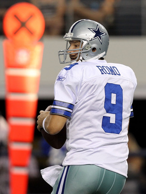 ARLINGTON, TX - AUGUST 21:  Tony Romo #9 of the Dallas Cowboys throws against the San Diego Chargers during a preseason game at Cowboys Stadium on August 21, 2011 in Arlington, Texas.  (Photo by Ronald Martinez/Getty Images)