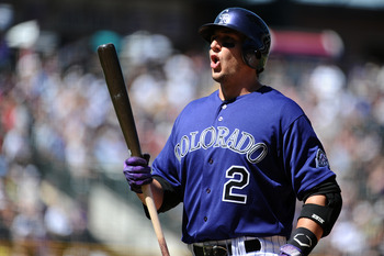 DENVER, CO - AUGUST 20:  Troy Tulowitzki #2 of the Colorado Rockies reacts to a pitch during the game against the Los Angeles Dodgers at Coors Field on August 20, 2011 in Denver, Colorado.  (Photo by Garrett W. Ellwood/Getty Images)
