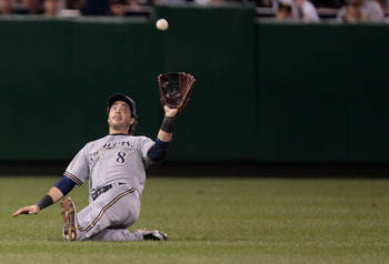 PITTSBURGH - AUGUST 22:  Ryan Braun #8 of the Milwaukee Brewers attempts to make a catch in left field against the Pittsburgh Pirates during the game on August 2, 2011 at PNC Park in Pittsburgh, Pennsylvania.  (Photo by Jared Wickerham/Getty Images)