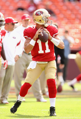 SAN FRANCISCO, CA - AUGUST 20:  Alex Smith #11 of the San Francisco 49ers warms up before their game against the Oakland Raiders at Candlestick Park on August 20, 2011 in San Francisco, California.  (Photo by Ezra Shaw/Getty Images)