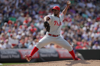 DENVER, CO - AUGUST 03:  Relief pitcher Antonio Bastardo #58 of the Philadelphia Phillies delivers against the Colorado Rockies at Coors Field on August 3, 2011 in Denver, Colorado.  (Photo by Doug Pensinger/Getty Images)