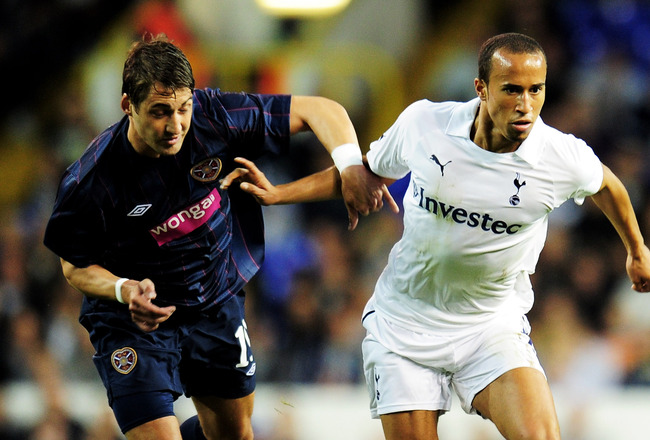 LONDON, ENGLAND - AUGUST 25:  Rudolf Skacel (L) of Hearts battles for the ball with Andros Townsend of Tottenham during the UEFA Europa League play-off match between Tottenham Hotspur FC and Heart of Midlothian FC at White Hart Lane on August 25, 2011 in