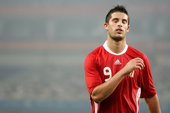SHANGHAI, CHINA - AUGUST 13:  Kevin Mirallas of Belgium reacts after missing a goal attempt during the Men's Group C match between New Zealand and Belgium at Shanghai Stadium on Day 5 of the Beijing 2008 Olympic Games on August 13, 2008 in Shanghai, China