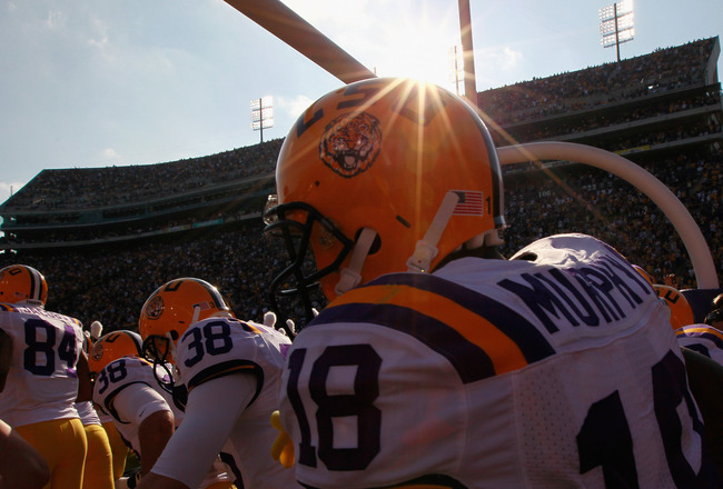 BATON ROUGE, LA - NOVEMBER 20:  The Louisiana State University Tigers enter the stadium to face the Ole Miss Rebels at Tiger Stadium on November 20, 2010 in Baton Rouge, Louisiana.  (Photo by Kevin C. Cox/Getty Images)