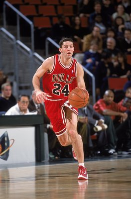 1 Feb 2001:  Bryce Drew #24 of the Chicago Bulls moves with the ball during the game against the Seattle SuperSonics at Key Arena in Seattle, Washington. The Sonics defeated the Bulls 97-91.  NOTE TO USER: It is expressly understood that the only rights A