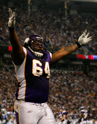 MINNEAPOLIS - JANUARY 17: Anthony Herrera #64 of the Minnesota Vikings celebrate Sidney Rice's 45 yard touchdown against the Dallas Cowboys during the fourth quarter of the NFC Divisional Playoff Game at Hubert H. Humphrey Metrodome on January 17, 2010 in
